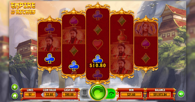 game screenshot from dragongaming's empire of riches slot game