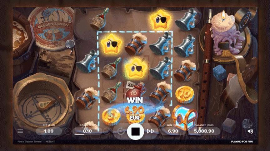 A screenshot from Finn's Golden Tavern slot machine gameplay.