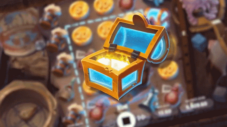 The chest symbol in Finn Golden Tavern turning low paying symbols into golden coins.