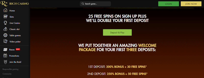 rich casino 25 free spins promotion