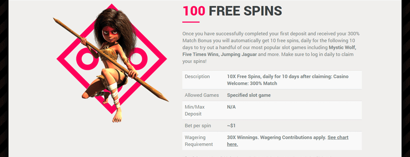 sports and casino com 100 free spins promotion