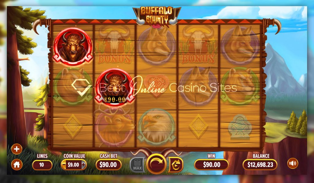 screenshot from dragongaming's buffalo bounty slot game
