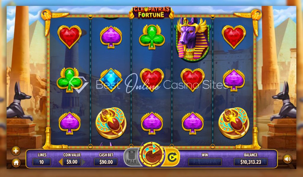 screenshot from dragongaming's cleopatra's fortune slot game