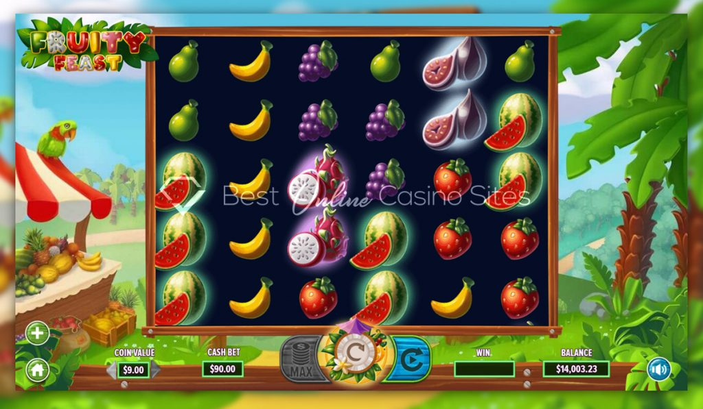 screenshot from dragongaming's fruity feast slot game