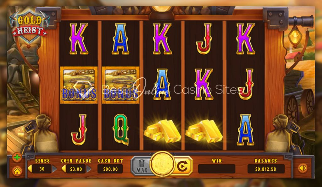 screenshot from dragongaming's gold heist slot game