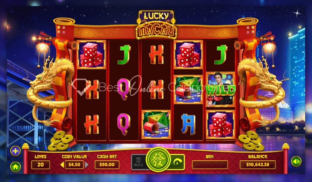 screenshot from dragongaming's lucky macau slot game