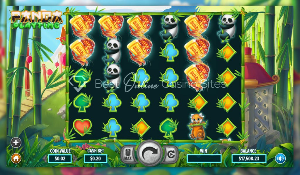screenshot from dragongaming's panda playtime slot game