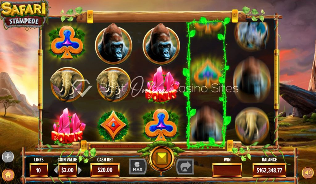 screenshot from dragongaming's safari stampede slot game
