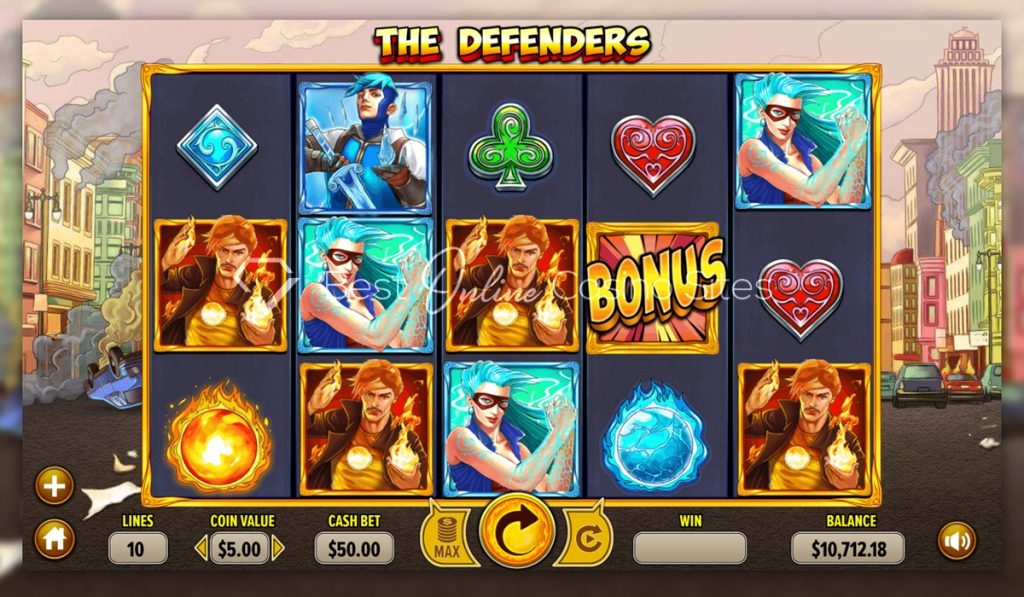 screenshot from dragongaming's the defenders slot game