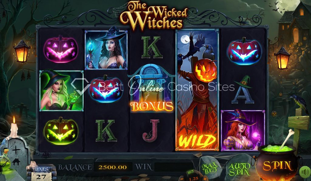 screenshot from dragongaming's the wicked witches slot game