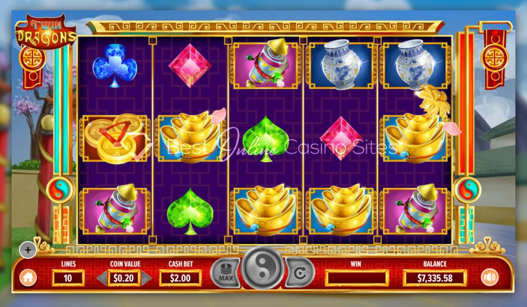 screenshot from dragongaming's twin dragons slot game