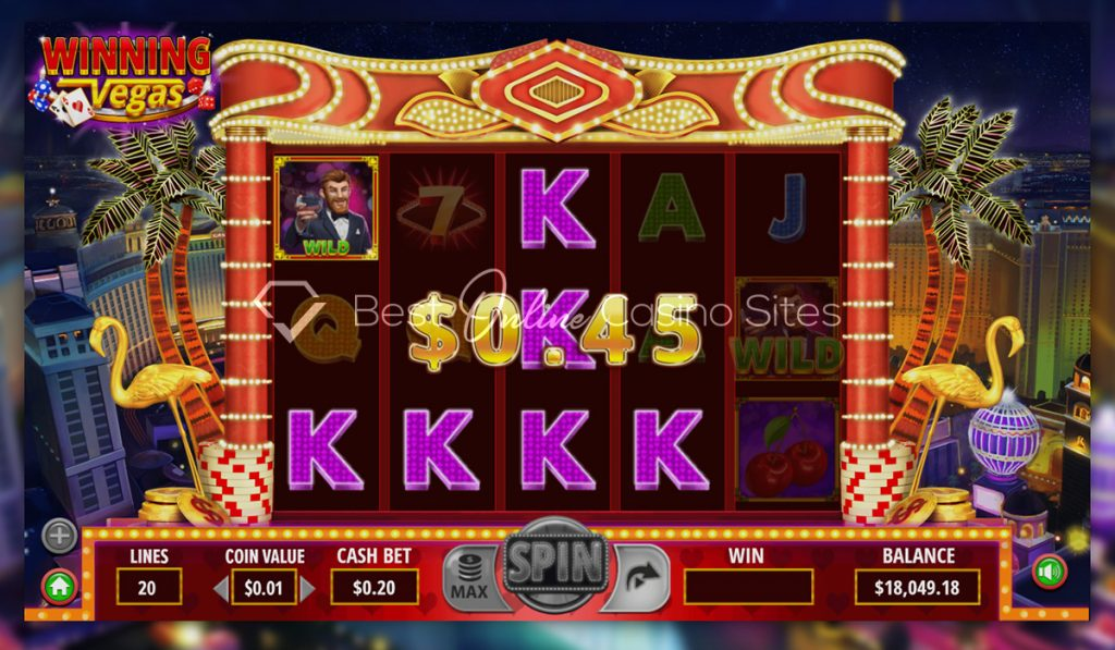 screenshot from dragongaming's winning vegas slot game