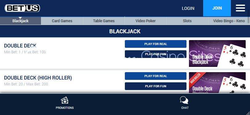 Image of BetUS Blackjack on mobile