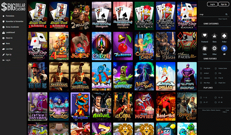 Image of Casino games at Big Dollar Casino