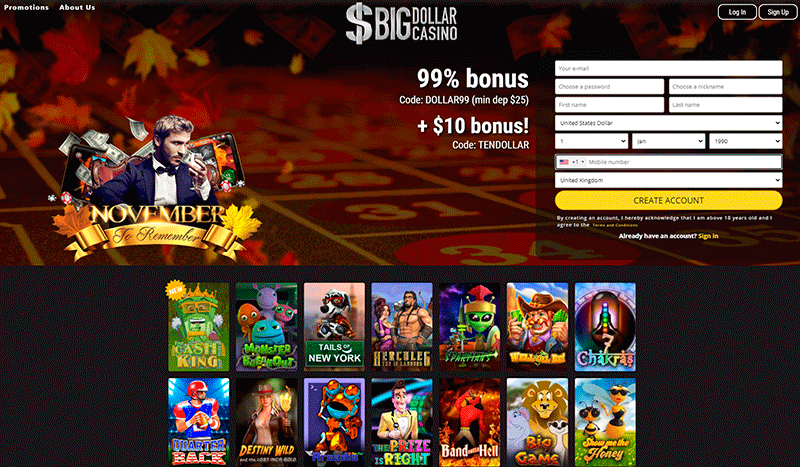 Image of Big Dollar Casino Home Page