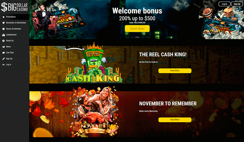Image of Big Dollar Casino Welcome Bonus