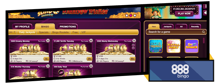 888Bingo Daily Jackpot Games