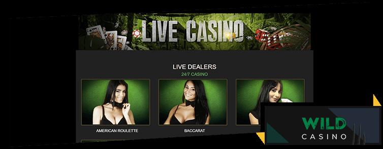 Live casino games at Wild Casino
