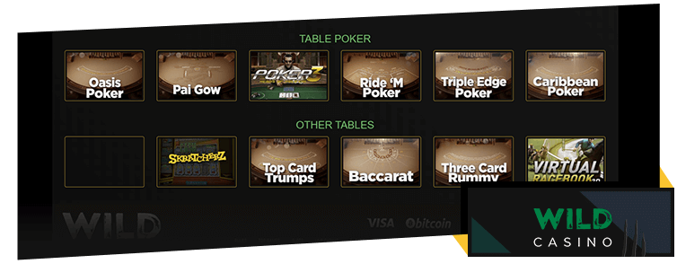 The available Wild Casino table games