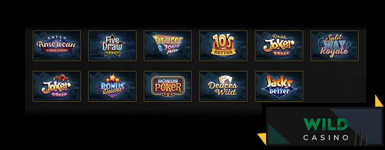Wild Casino's video poker games